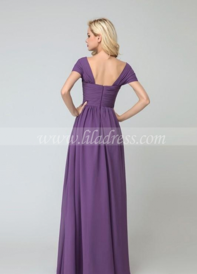 Wrapped Shoulders Chiffon Long Wedding Party Dress for Bridesmaid