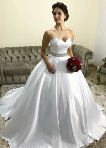 White Satin Wedding Ball Gown Dresses with Rhinestones Belt