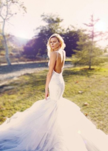 White Lace Mermaid Wedding Gowns Dress with Tulle Skirt