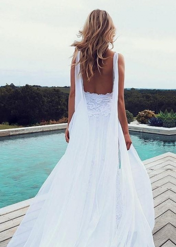 White Lace Beach Wedding Dresses with Chiffon Ribbons