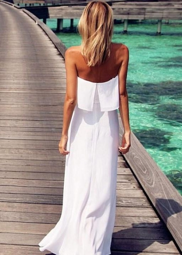 White Chiffon Summer Wedding Gown Backless vestido de casamento