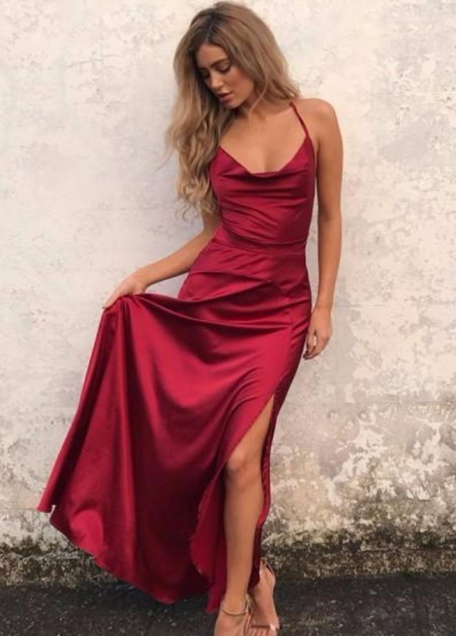 Wine Red Prom Gown with Strappy Backless
