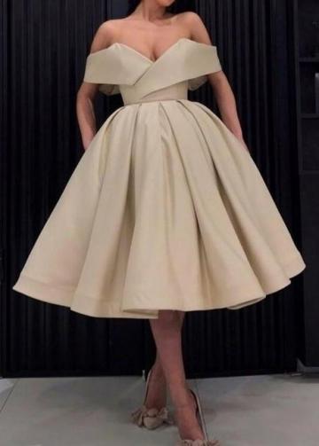 Wide Off-the-shoulder Prom Dress Short Satin Skirt