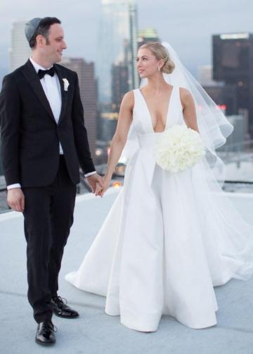 Wide V-neck Sexy A-line White Wedding Dresses with Pockets