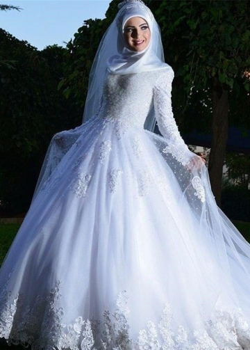White Lace Muslim Wedding Dresses with Long Sleeves
