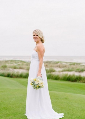 White Chiffon Long Wedding Dress for Golf Course