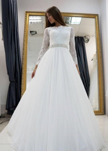 White Lace Long Sleeves Wedding Dress Tulle Skirt