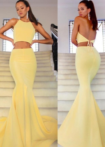 Yellow Satin Mermaid Prom Gowns Two-Pieces
