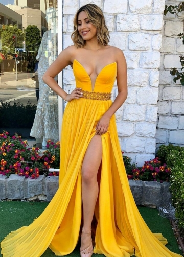 Yellow Pleated Chiffon Maxi Long Prom Dress with Plunging Neckline