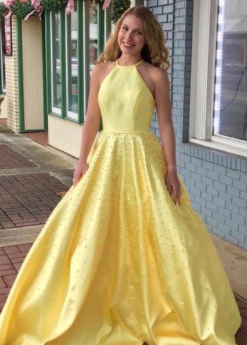 Yellow Satin Pearls Prom Dresses with Halter Neckline