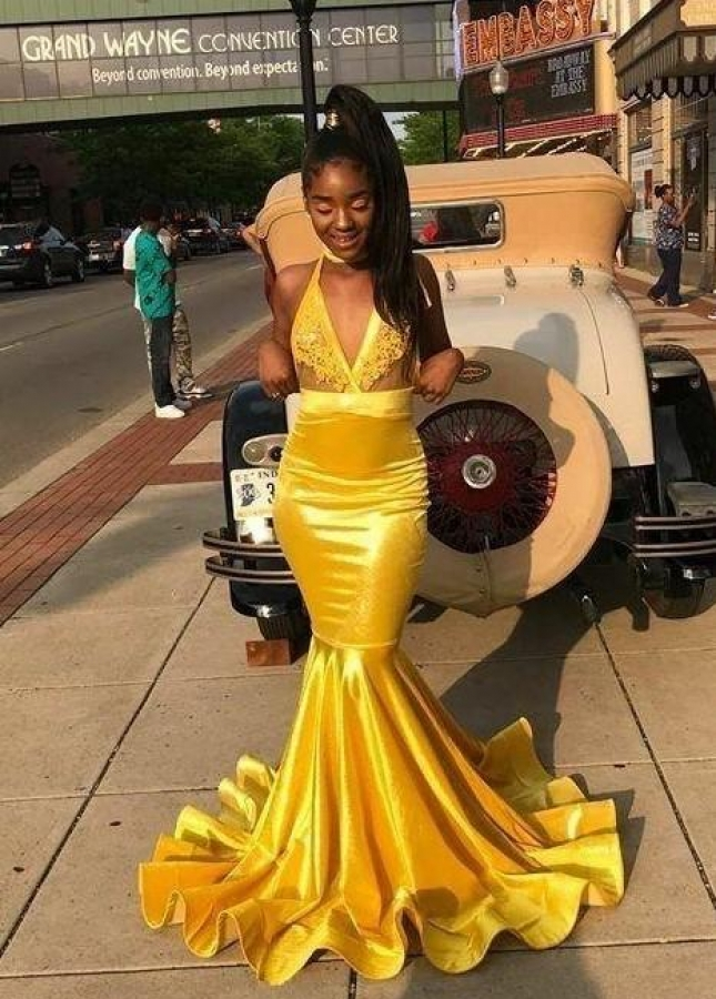 Yellow Bodycon Mermaid Prom Dresses Long with Appliuqes