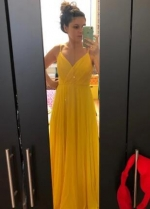 Long Chiffon Yellow Prom Dresses with Double Straps