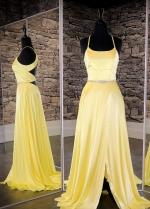 Yellow Long Prom Dress with Slit Side vestido de fiesta de graduación