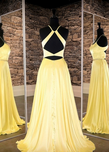 Yellow Long Prom Dress with Slit Side vestido de fiesta de graduación